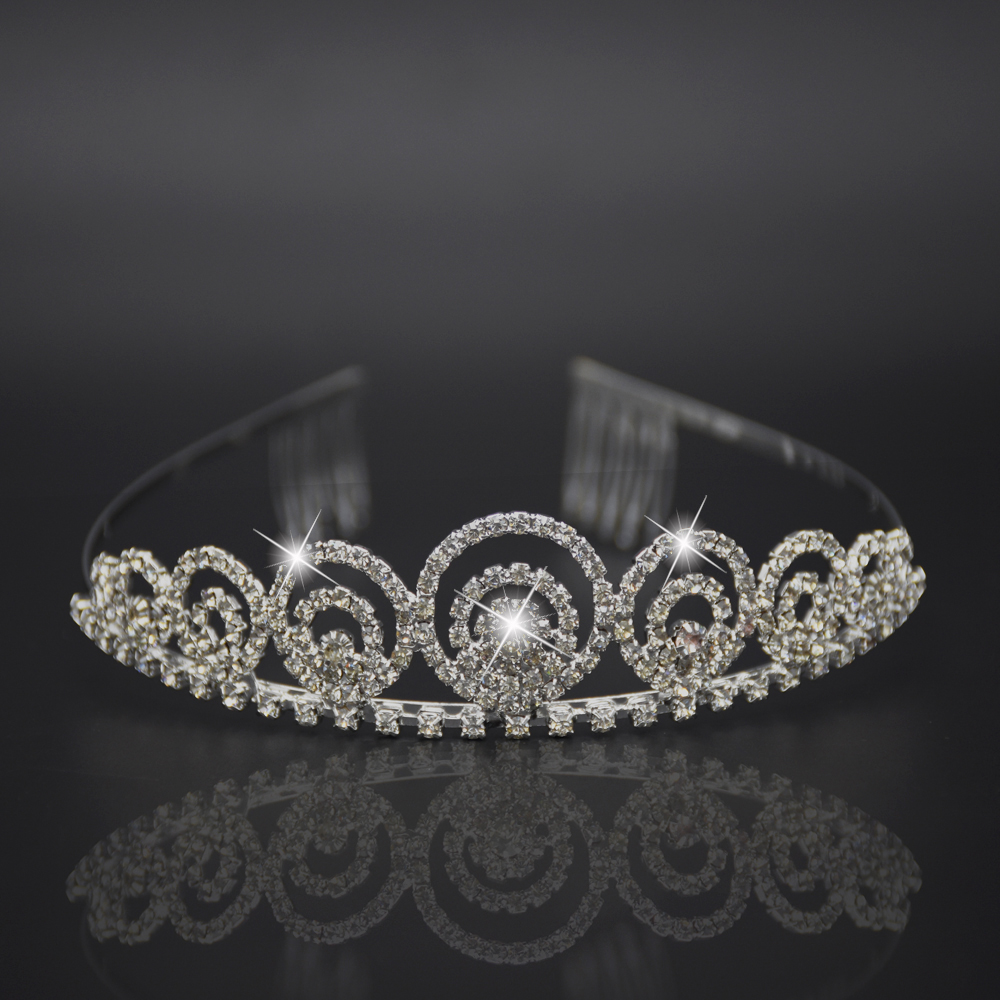 Silver headdress luxurious hair accessor Hair Comb Princess Crown Bridal Jewelry Shiny Rhinestone Headband for Engagement Bijoux