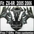 Plastic fairing kits for Kawasaki ZX6R 2005 2006 Parts 05 06 Ninja 636 all matte black fairings bodywork set M147
