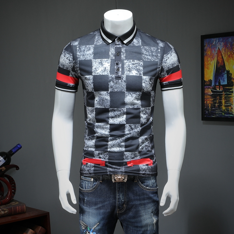 2019 summer men lapel grid   POLO   short-sleeved shirt printing qiantang qt2009 article number T324 P75