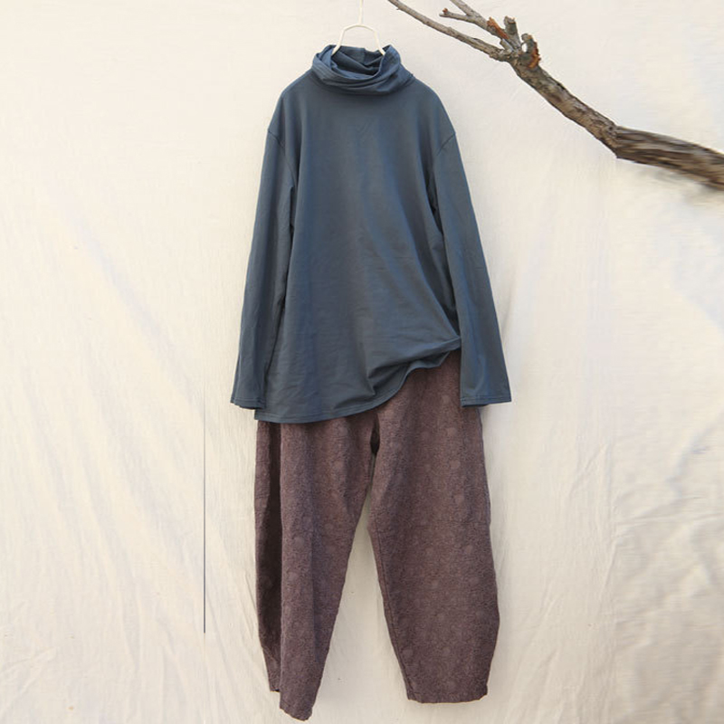 Johnature женщины длинные брюки брюк печати цветочные эластичный пояс карманы 2017 зима теплая винтаж повседневная высокого качества белье брюки