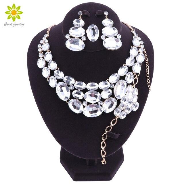 Beautiful Indian Jewellery Bridal Jewelry Set Gold Color Rhinestone
