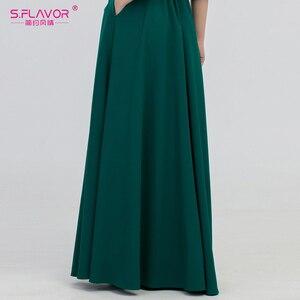 Image 5 - S.FLAVOR kolor zielony kobieta O Neck długa sukienka styl boho Slim Vestidos Vintage 3/4 latarnia rękaw Casual sukienka zimowa