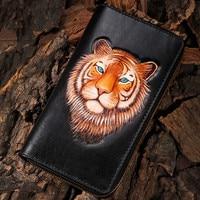 Высококачественные индивидуальные кошельки из натуральной кожи, Сумка с изображением тигра, мужские кошельки, длинный клатч, кожаный бумаж