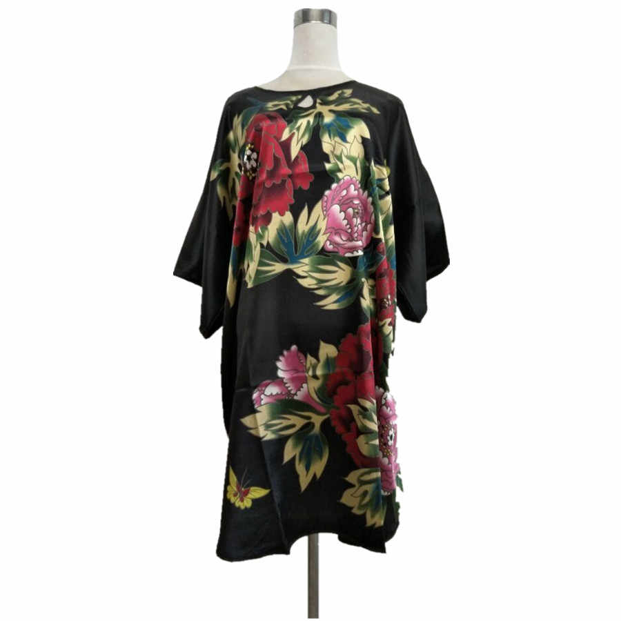 Novelty Black Chinese Women's Traditional Rayon Bathrobe Sexy Sleepwear Nightdress Lounge Charming Nightclothes One Size