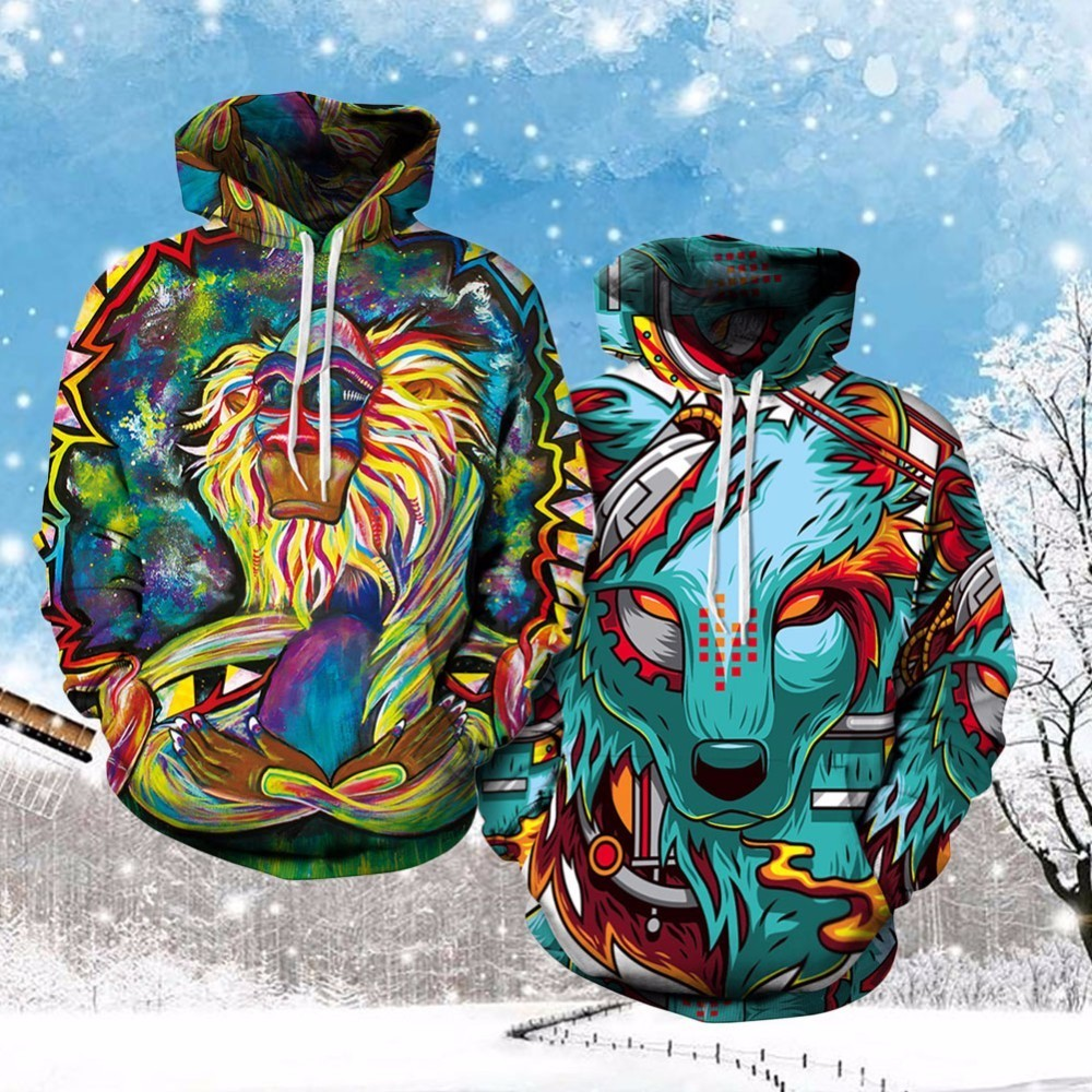 New Hiphop Hoodies Style Colorful Clouds 3D Printed Tiger Animal Women Hooded Sweatshirts
