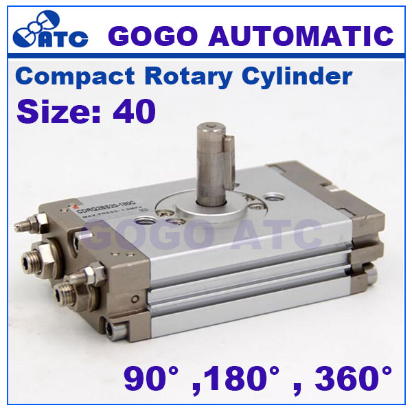 Compact rotary cylinder rack pinion size 40mm CRQ2BS CDRQ2BS 90 180 380 degree air actuator cylinder
