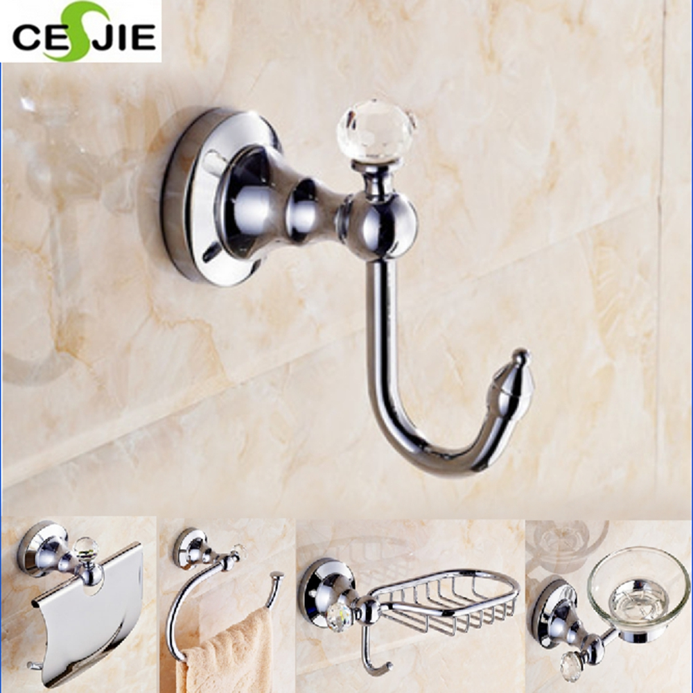 Free Shipping Stainless Steel Shower Hanger Hook Chrome Finish Wall Mounted  Crystal Style(China)