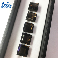 Bolaijewelry,Natural smoky quartz square 10mm ,5 pieces in one lot 24 ct loose gemstone for jewelry