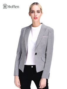 Hoffen Fashion OL Women Blazer Coat Grey Plaid Blazer Jacket Lapel Outwears Pockets Casual Notched Blazer Overcoat RW12-KZD102