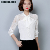 BOBOKATEER Office Long Sleeve White Blouse Women Chiffon Shirt Ladies Blusas Mujer Womens Tops And Blouses