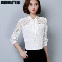 BOBOKATEER Office Long Sleeve White Blouse Women Chiffon Shirt Ladies Blusas Mujer Womens Tops And Blouses