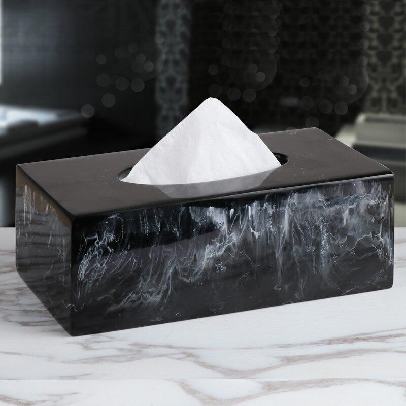 Exquisite artistic Ink texture resin tissue box Unique marble texture tissue storage box Living room decoration