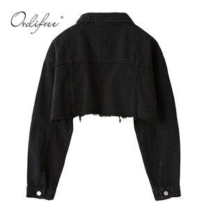 Image 2 - Женская джинсовая куртка Ordifree, модная Уличная Повседневная Свободная короткая рваная джинсовая куртка с длинным рукавом, осень 2020