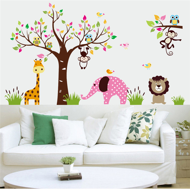 Cute Animals Kingdom Wall Stickers Kids Room Decoration Posters BIG Lovely  Animals Wallpaper Wall Decor Vinyls Children Stickers Part 54
