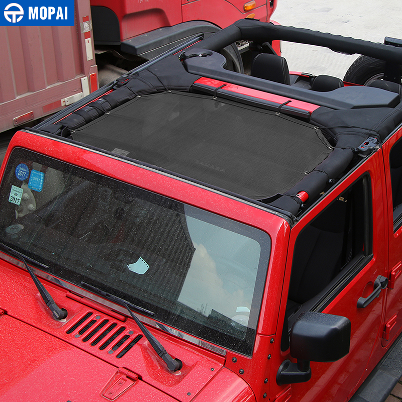 Image 5 - MOPAI 2/4 Door Car Roof Mesh Bikini Top Sunshade Cover UV Sun Shade Mesh for Jeep Wrangler JK 2007 2017 Car Accessories Styling-in Car Covers from Automobiles & Motorcycles