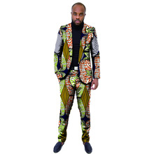 African blazers and trousers men fashion africa print dashiki suits business edition slim fit blazer+pant set tailor made