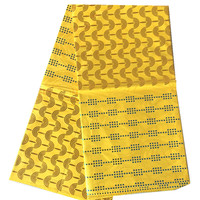 African style damask shadda golden bazin guinea brocade fabric in yellow color for garment