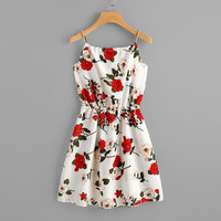 Floral Print Spaghetti Strap Beach Dress Women Bandage Hollow Out Sleeveless Short Dress Female Holiday Summer Dress