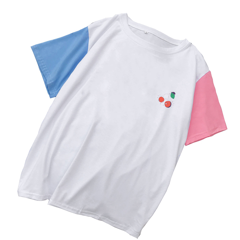Korean Tshirt New Women Summer O-neck T Shirt Female Harajuku Lovely Kawaii Cherry Print Tee Shirt Femme Spell Color Cotton Tops(China)