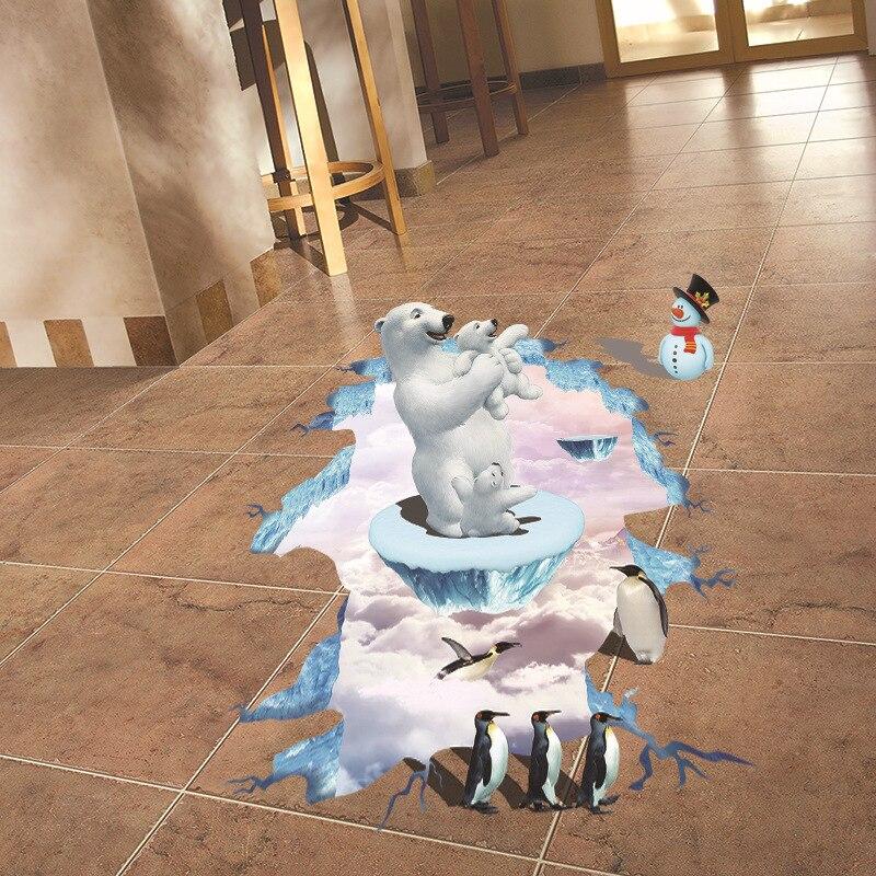Best Deal 3d Eisbar Pinguin Boden Aufkleber Weihnachtsaufkleber