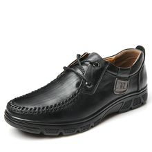 2017 Winter Men Genuine Leather Casual Shoes Slip Up Rubber Sole Loafers for Man Size 40-47