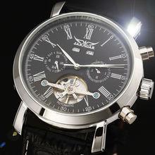 JARAGAR Золотой Циферблат 6 Руки Дата День Tourbillion Черный кожаный Ремешок Часы Бизнес Платье Год Месяц Дисплей мужская часы