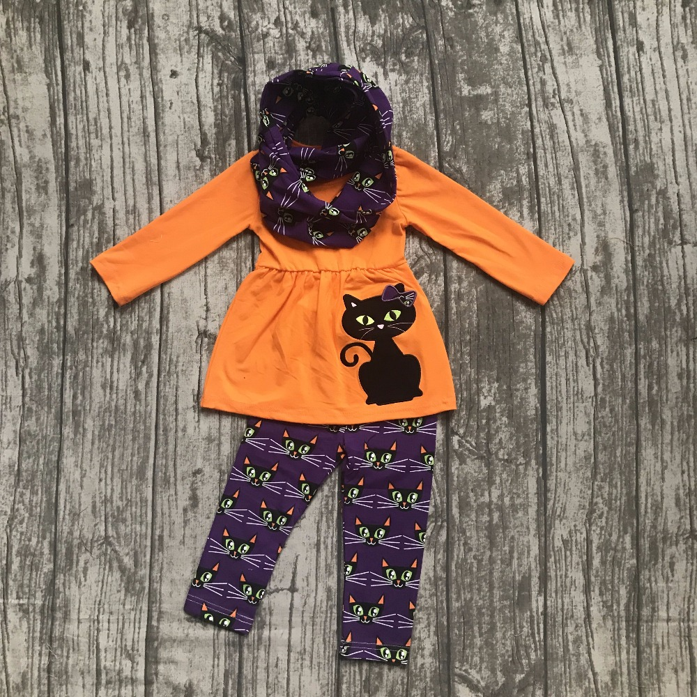 new arrival Halloween FALL/Winter baby girls outfits 3 pieces scarf purple orange top cat print  pant boutique children clothes 2016 new arrival baby girls outfits halloween baby kids boutique baby girl halloween sets with necklace and headband leg warmers