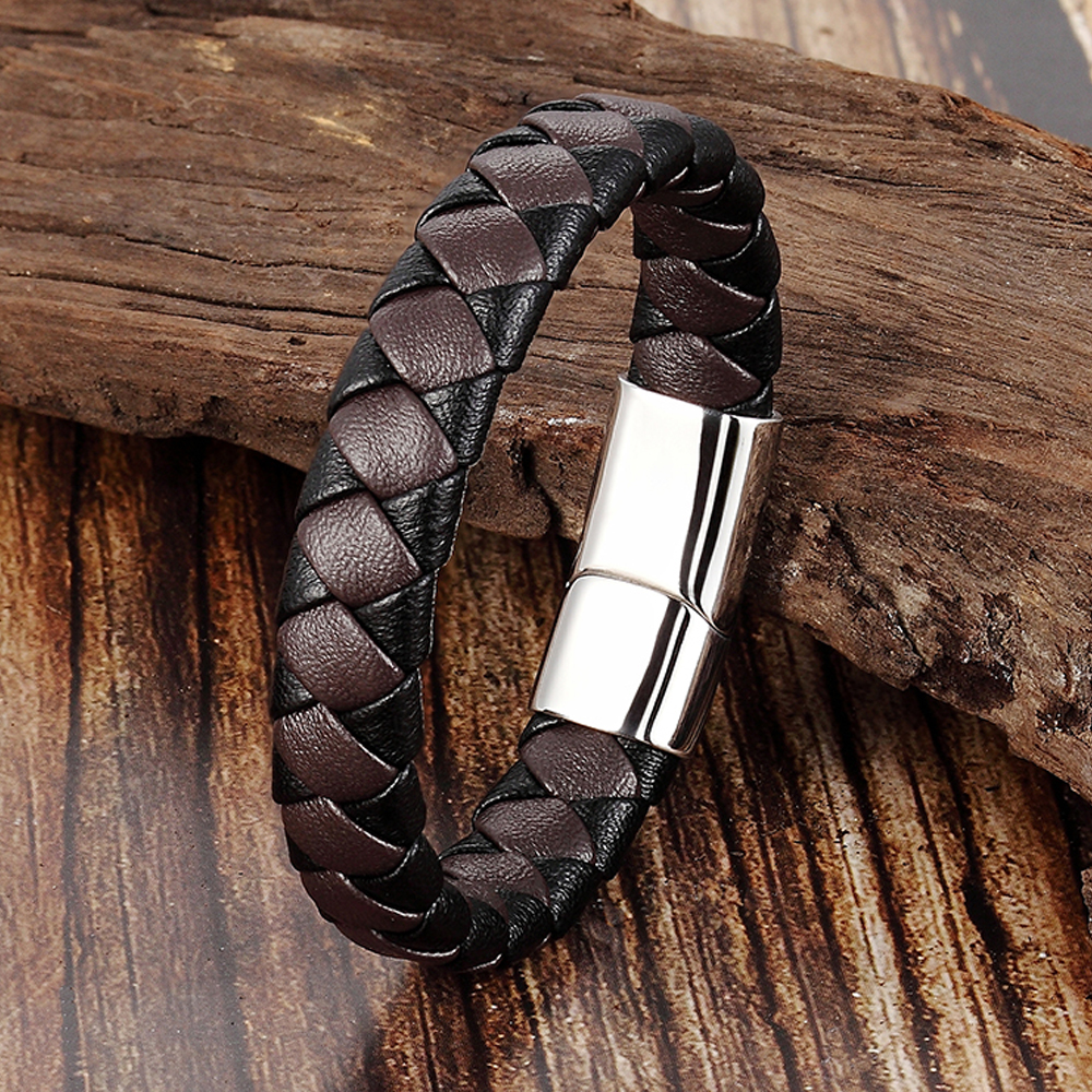 2019 Stainless Steel Bracelet Men Genuine Leather Bracelets Simple Style Ladies Black Color Leather Bracelet for Women