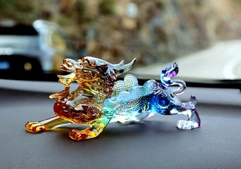 2020 Office home CAR efficacious FENG SHUI Talisman Protection -Money Drawing Color Crystal dragon PI XIU Sculpture ART statue