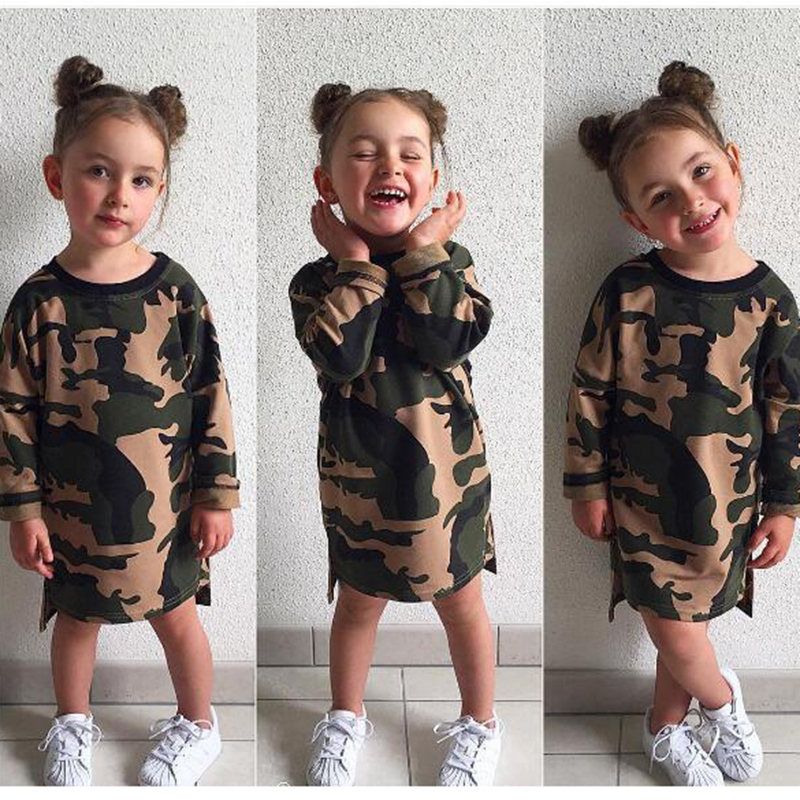 Fashion Camouflage Print Cloth Summer Baby Girls Long Sleeve Dress Kids Girls Mini Dresses Vestido