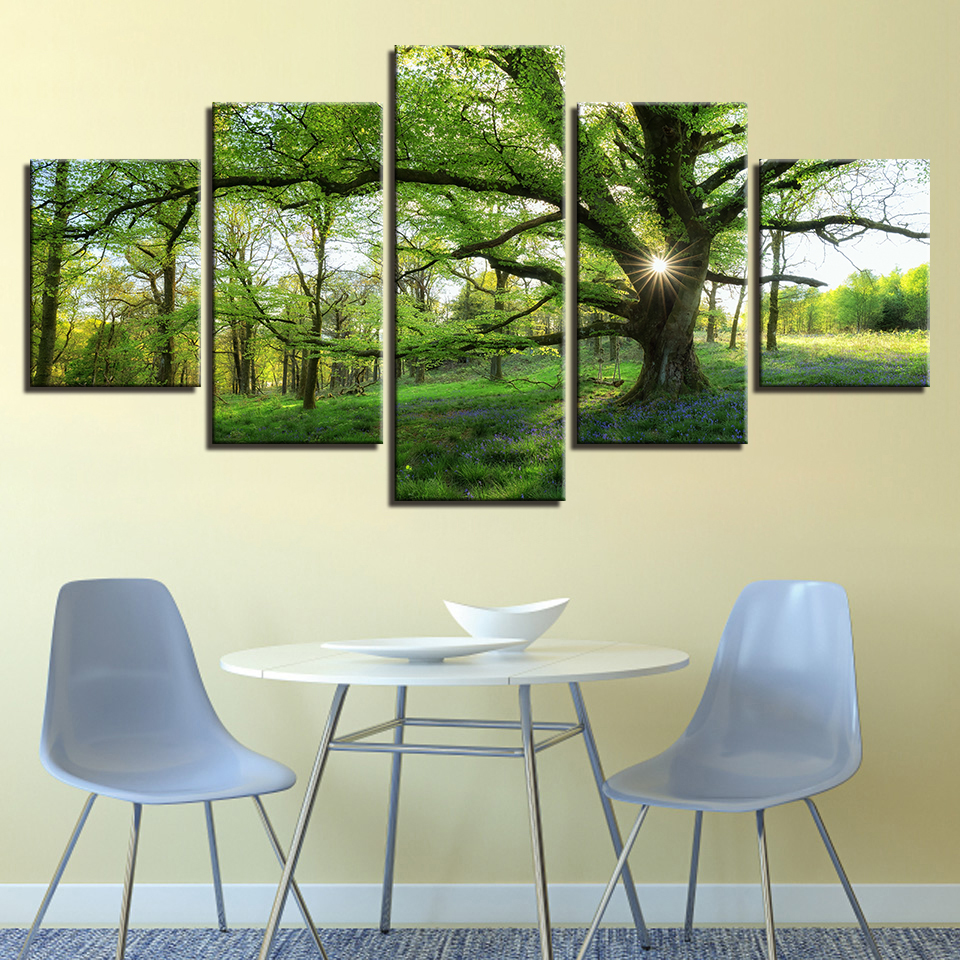 Pictures Home Decoration HD Printed Paintings Modular Posters Modern 5 Panel Green Tree Landscape Tableau Wall Art Canvas in Painting Calligraphy from Home Garden