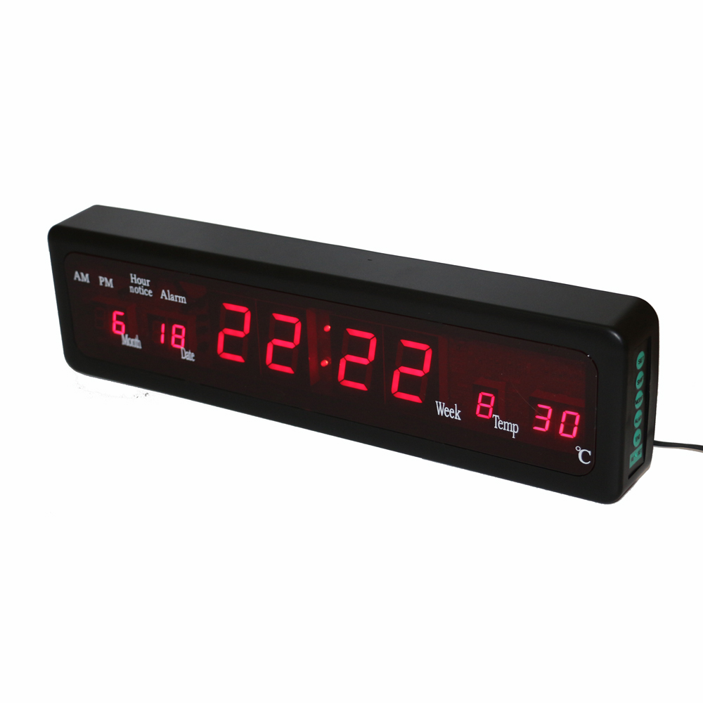Desktop Elektroniske Alarmklokker Digital LED Wall Clock med Innendørs Temperatur Kalender Uke Dato Houly Chime Red Display