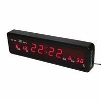 Desktop Electronic Alarm Clocks Digital LED Wall Clock with Indoor Temperature Calendar Week Date Houly Chime Red Display