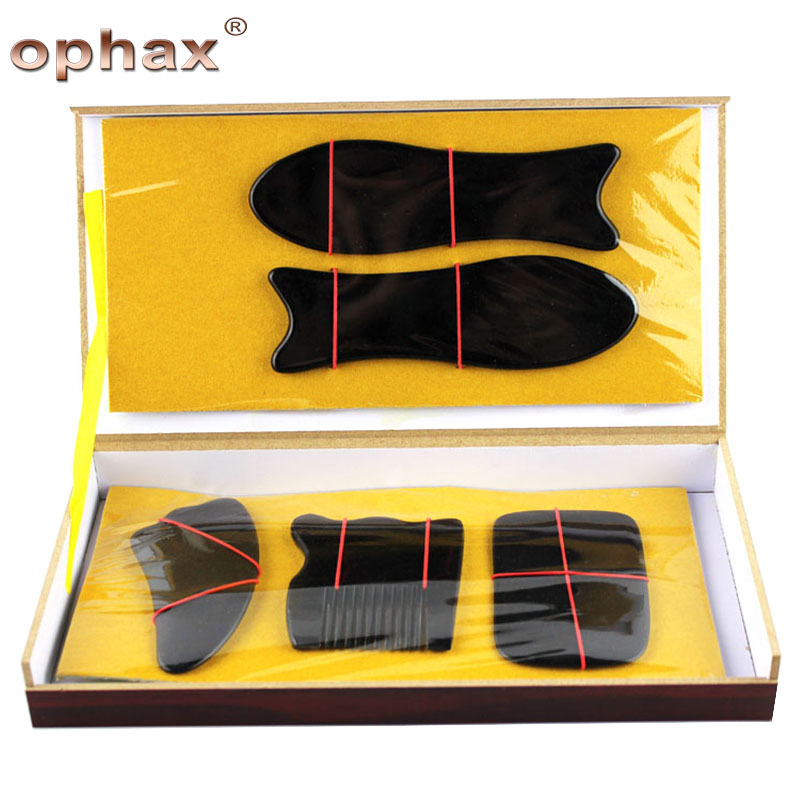 OPHAX 5pcs/box Black Buffalo Horn promoting blood circulation to foot massager Acupuncture Body Massage Guasha Scraping Board promoting social change in the arab gulf