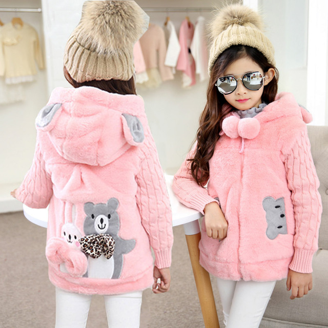New Winter Girls Coat Cotton Girls Jacket Thick Fake Fur Warm Jackets For Girls Clothes Coats Solid Casual Hooded Kids Outerwear new winter girls coat cotton girls jacket thick fake fur warm jackets for girls clothes coats solid casual hooded kids outerwear