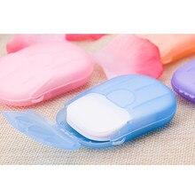 20 pçs descartável sabão papel de viagem sabão papel lavagem mão banho limpo scented folhas de fatia mini sabão de papel novo 2020 tslm1