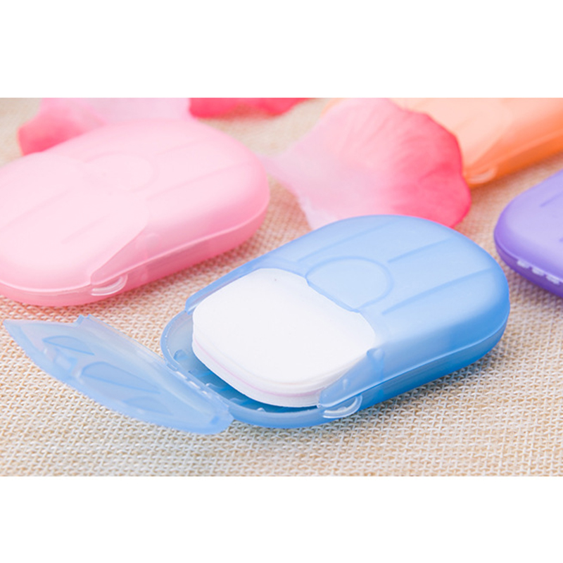 20pcs Disposable Boxed Soap Paper Portable Hand Washing Box Scented Slice Sheets Mini Soap Paper Travel Convenient