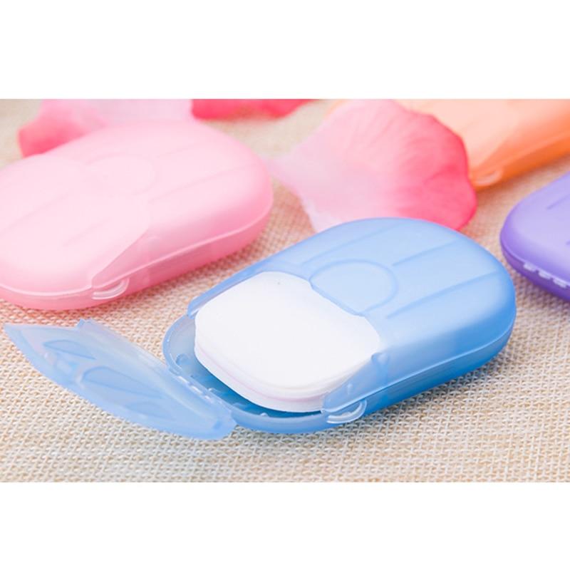 20pcs Disposable Boxed Soap Paper Portable Hand Washing Box Scented Slice Sheets Mini Soap Paper Travel Convenient