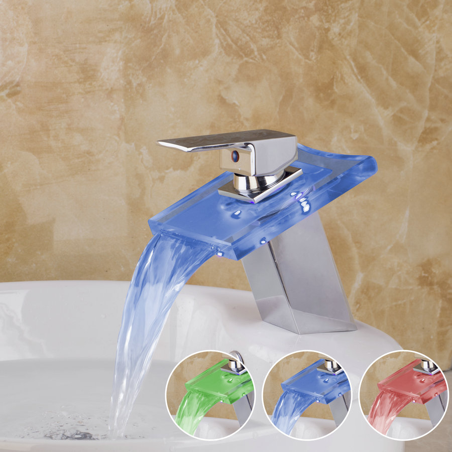 Free Ship New Waterfall LED Brass Faucet Battery power Big Spout Bathroom Mixer Tap Sink Basin Chrome Finish 3 Colors CM0018