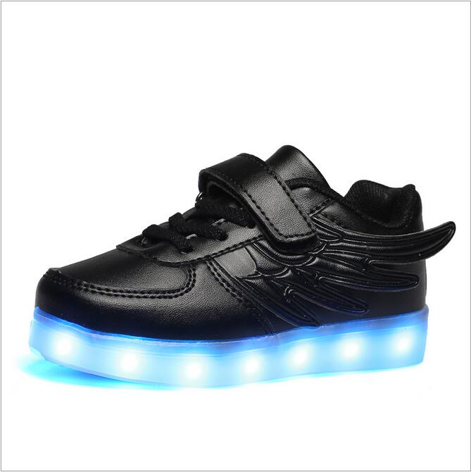 Wings Glowing Sneakers LED Light Shoes Kids Boys Girls Toddler/Little Kids/Big Kids Flashing Sport Flash Board Rechargeable glowing sneakers usb charging shoes lights up colorful led kids luminous sneakers glowing sneakers black led shoes for boys
