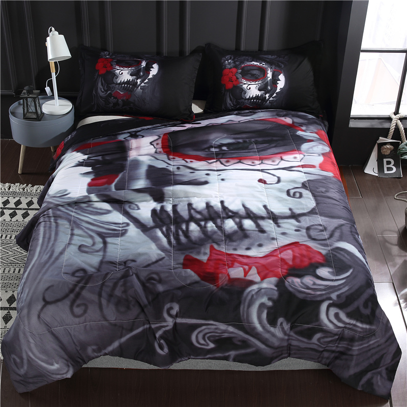 Bonenjoy Halloween Style Comforter Bedding Set With Pillowcase 3D Skull Style Quilted Comforter Full Queen Size Comforter Sets