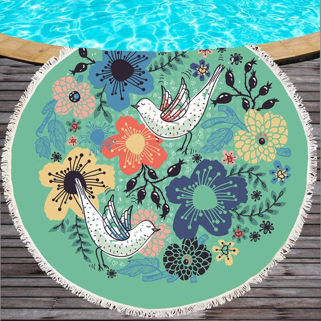Leaves Flower Round Beach Towel with Tassel for Summer Microfiber Large Bath Towel for Adults 150cm Swimming Mat