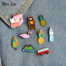 Miss Zoe 9pcs/set Pineapple Bus Cats in Box Bear Swan Mountain Brooch Button Pins Denim Jacket Pin Badge Cartoon Jewelry Gift