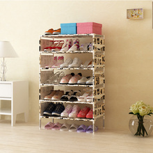 Cheap thicker non-woven shoe rack six five grid storage folding assembly