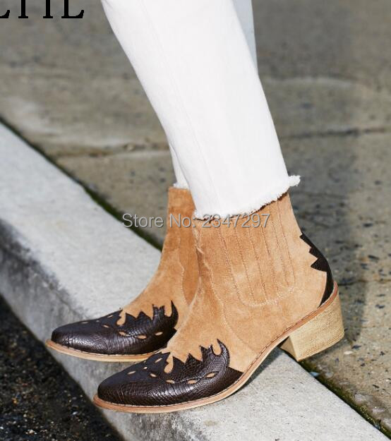 Newest brand fashion women autumn winter ankle boots chunky heels pointed toe women shoes leather and suede patchwork free style