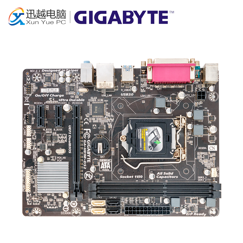 Gigabyte GA-H81M-DS2 Desktop Motherboard H81M-DS2 H81 LGA 1150 i3 i5 i7 DDR3 16G SATA3 Micro-ATX материнская плата gigabyte ga h81m ds2