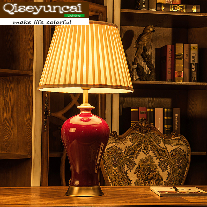 Qiseyuncai Chinese rosewood living room red ceramic table lamp classical high-end villa decoration bedroom bedside lighting