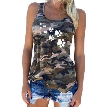 Footprint Camouflage T-Shirts Tank Tops 2019 Summer Plus Size S-5XL Womens Sleeveless Camo T Shirt Tees Tanktops Clothing