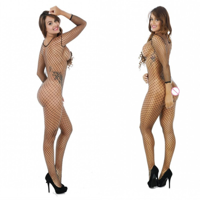 Women Hot Sexy Lingerie Big Mesh Fishnet Bodystocking Hollow Out Sexy Underwear Open Crotch Sexy Costumes Erotic Dress Lenceria