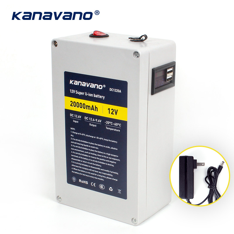 Panneau de protection de batterie au lithium Kanavano grande capacité 12 v 20ah Lifepo4 avec double sortie USB chargeur de batterie 20000 mAh + 12 v 2A